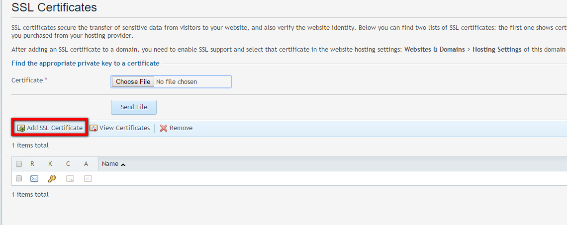 SSL Certificates Screen